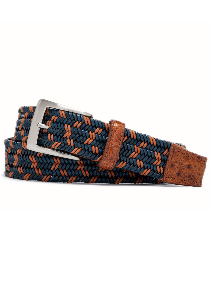 "W. Kleinberg 1 3/8"" Stretch Belt w/ Matte Caiman Croc Tabs 