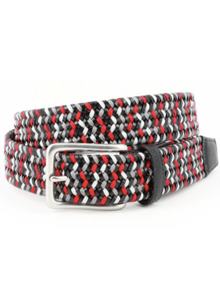 Torino 35mm Italian Woven Leather and Rayon Stretch Belt | Black, Grey and Red - Jordan Lash Charleston