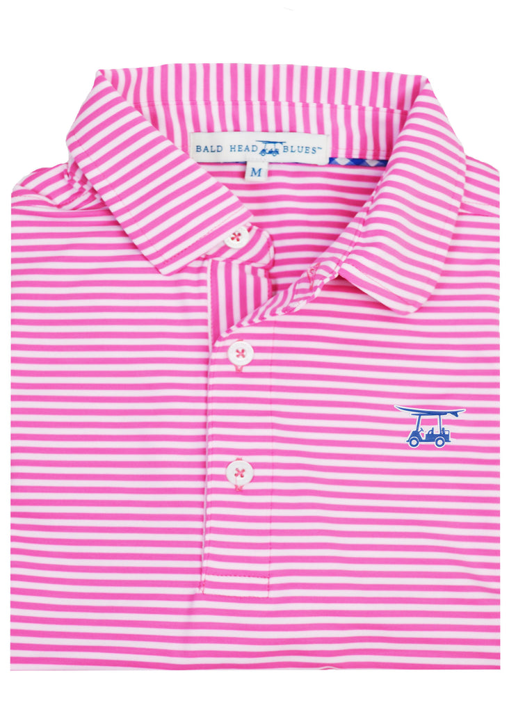 Bald Head Blues Albatross Polo | Azalea Pink and White Stripe - Jordan Lash Charleston