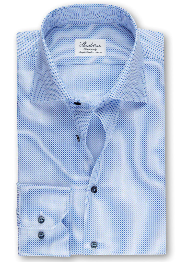 Stenstroms Blue Fitted Body Shirt in Textured Twill - Jordan Lash Charleston