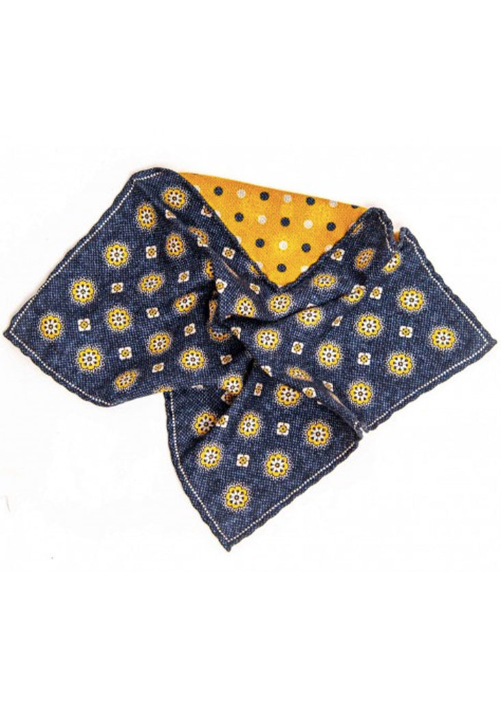Edward Armah Medallions and Dots Reversible Pocket Square | Navy and Carrot - Jordan Lash Charleston