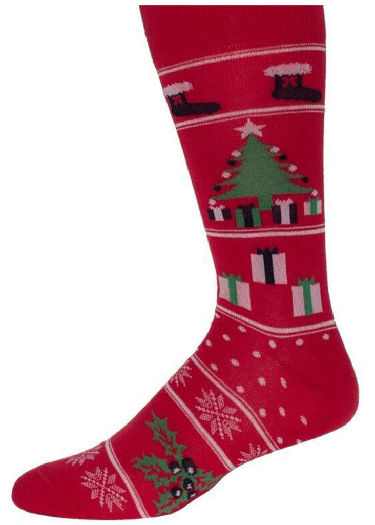 Ell & Atty Mixed Xmas Motifs Sock | Red - Jordan Lash Charleston