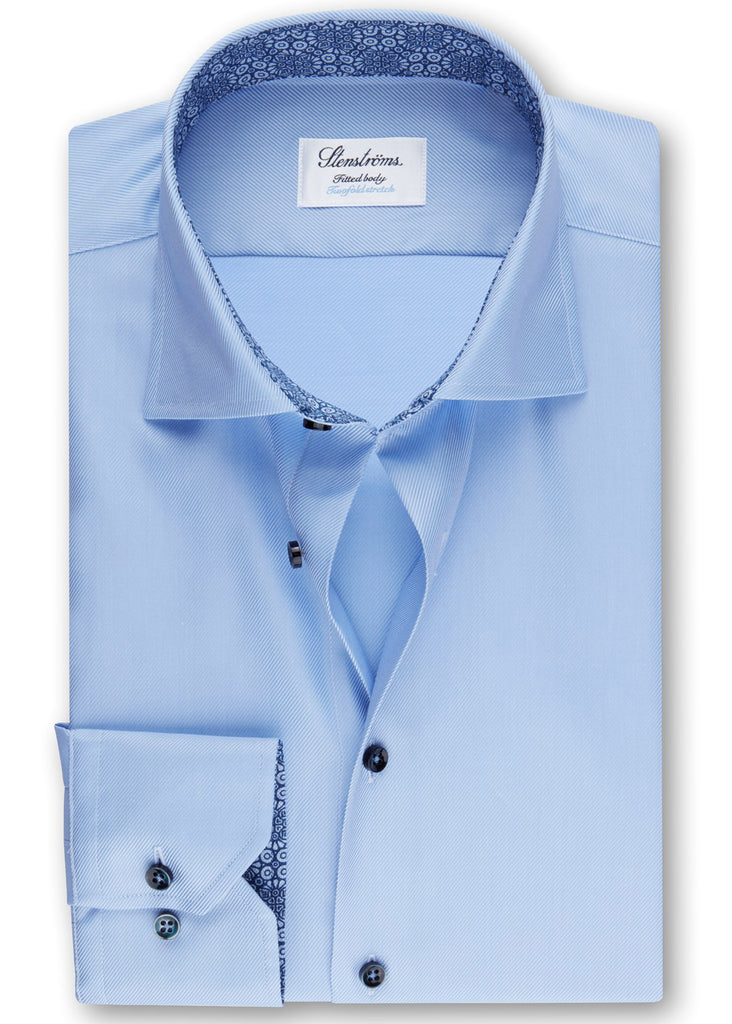 Stenstroms Light Blue Fitted Body Shirt w/ Contrast - Jordan Lash Charleston