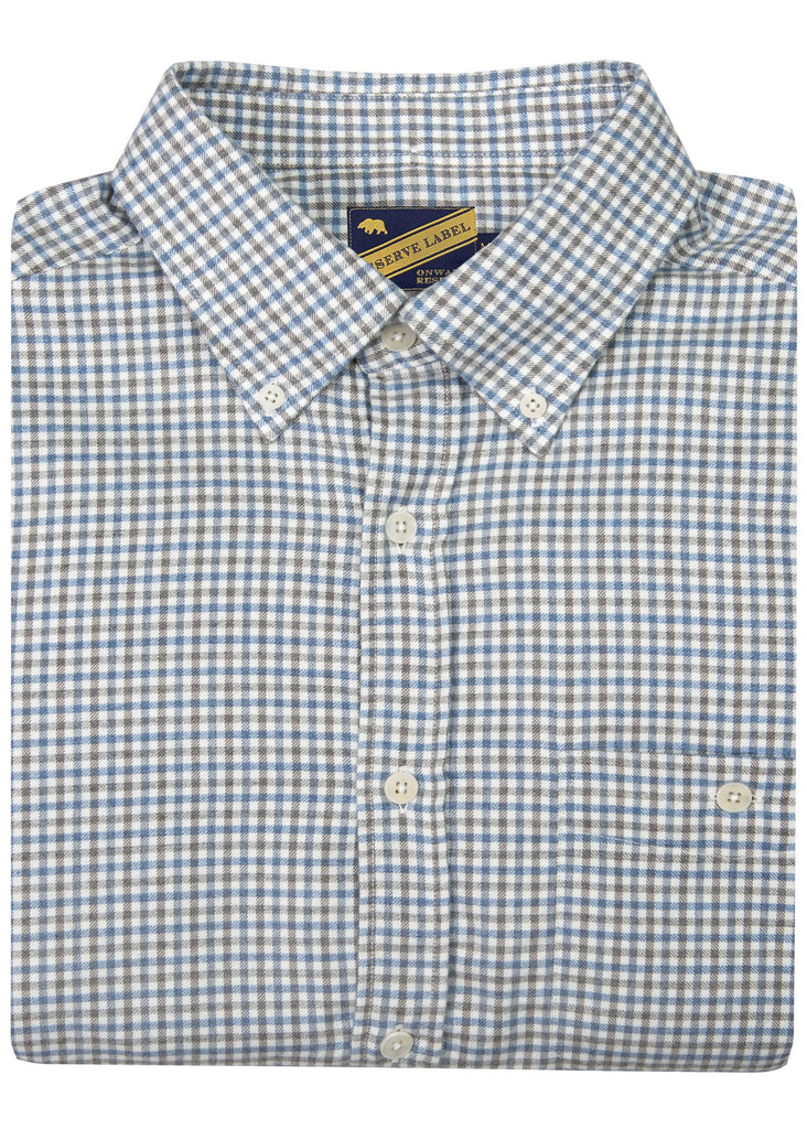 Onward Reserve Cashmere Blend Button Down | Blue and Grey Plaid - Jordan Lash Charleston