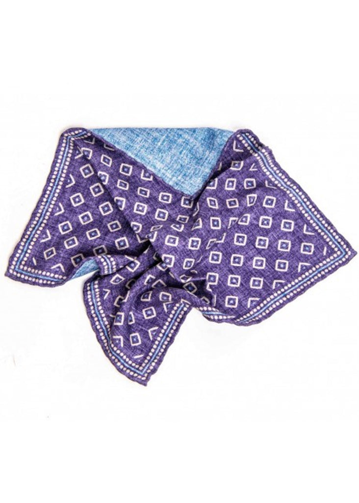 Edward Armah Foulard Solid Sahppe Print Reversible Pocket Square | Purple and Blue - Jordan Lash Charleston