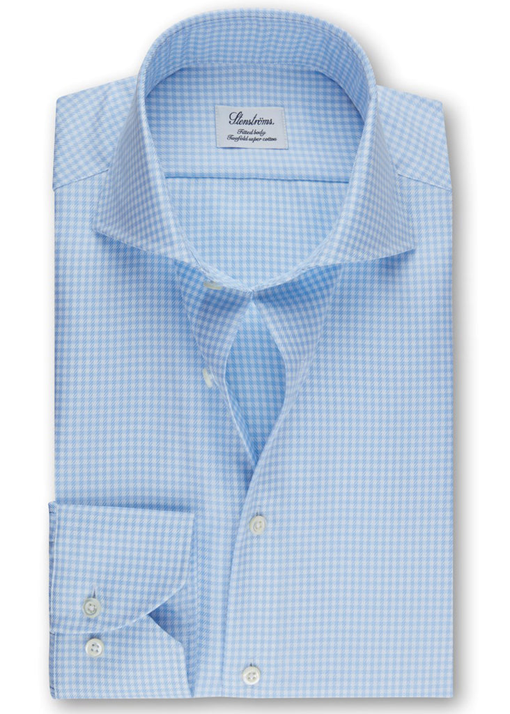 Stenstroms Blue Check Fitted Body Shirt - Jordan Lash Charleston