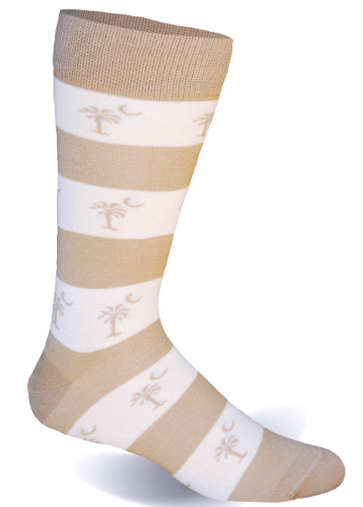 Palmetto Stripe Socks | Ivory and Khaki - Jordan Lash Charleston