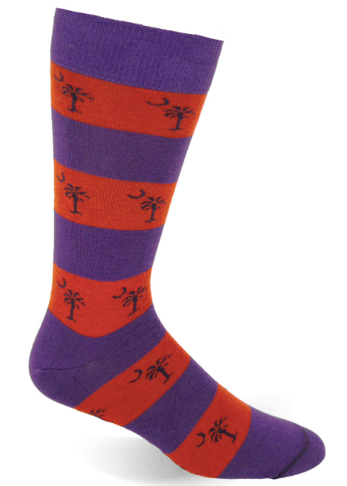 Palmetto Stripe Socks - Purple and Orange Stripe