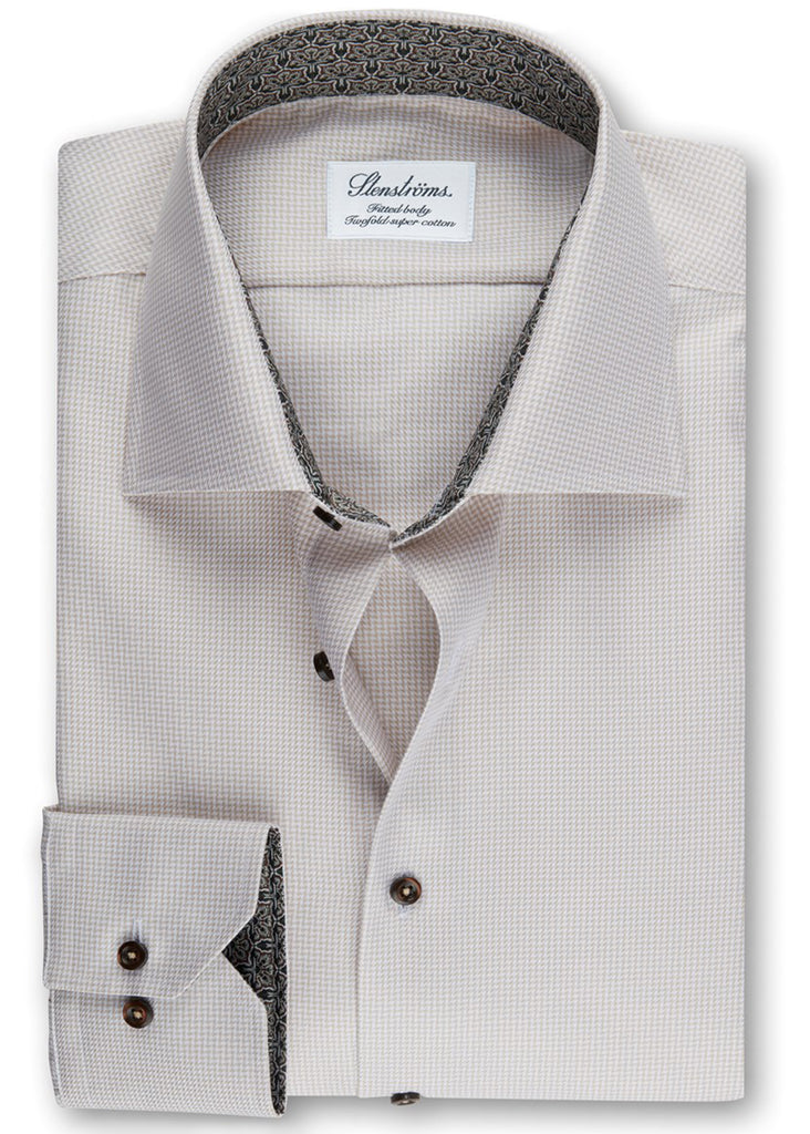 Stenstroms Beige Fitted Body Shirt w/ Contrast - Jordan Lash Charleston