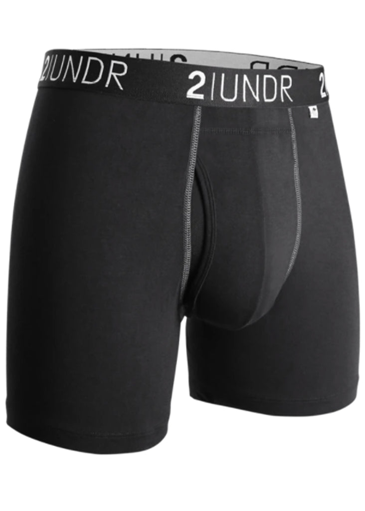 2 UNDR Swing Shift 6 Inch Boxer Brief | Black and Grey - Jordan Lash Charleston