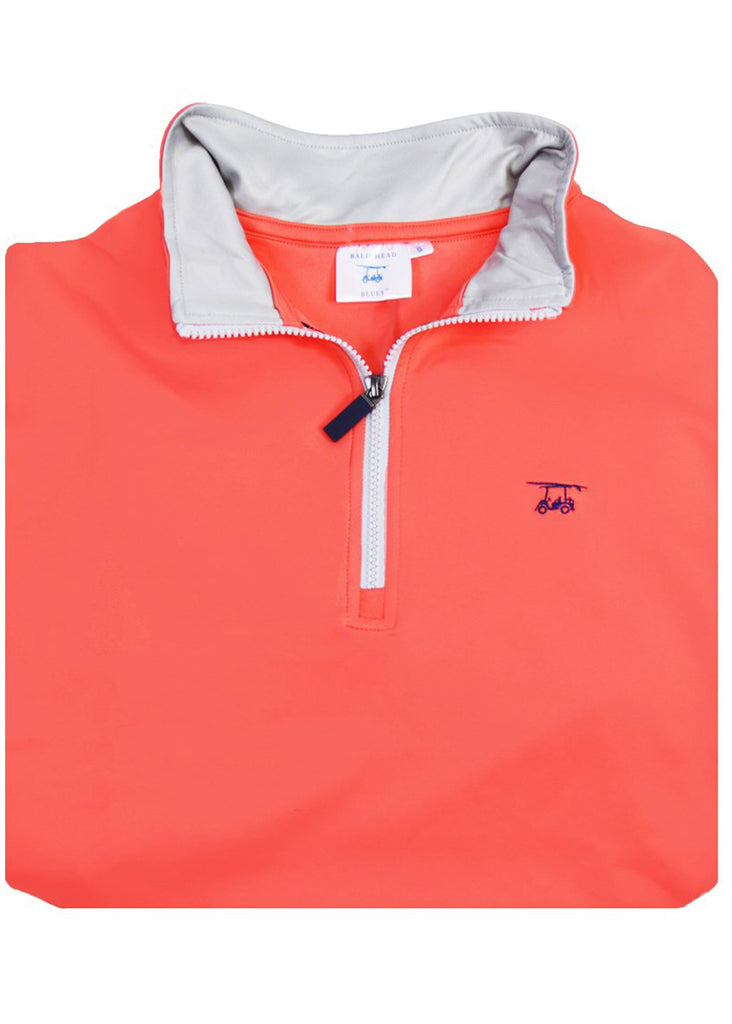 Bald Head Blues Dogwood Quarter Zip | Solid Coral - Jordan Lash Charleston