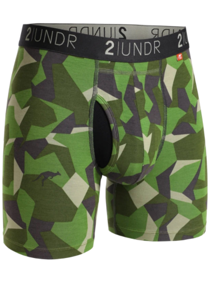 2 UNDR Swing Shift 6 Inch Boxer Brief | Green Camo - Jordan Lash Charleston