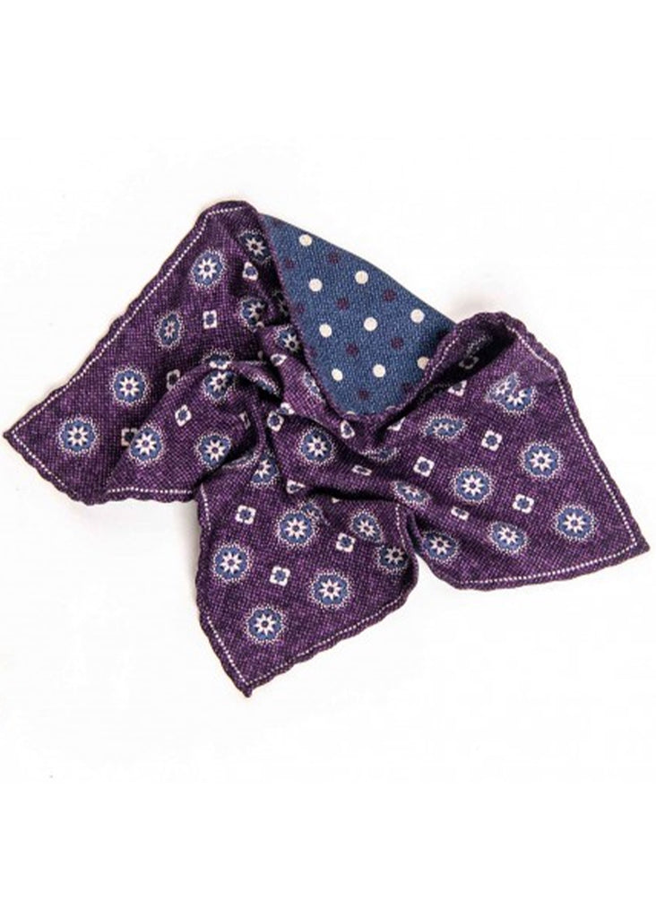 Edward Armah Medallions and Dots Reversible Pocket Square | Dark Purple and Denim - Jordan Lash Charleston
