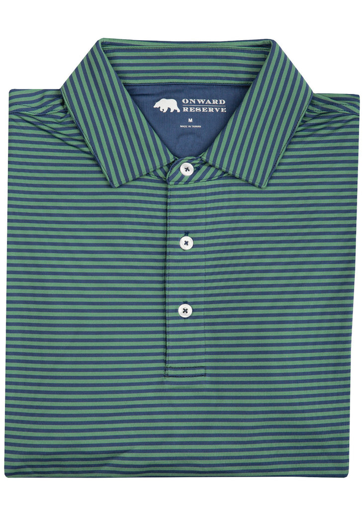 Onward Reserve Pro Stripe Performance Polo | Feldspar and Navy - Jordan Lash Charleston