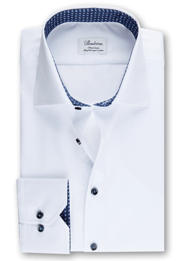 Stenstroms White Fitted Body Shirt w/ Contrast - Jordan Lash Charleston