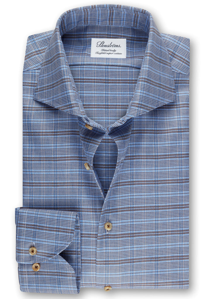 Stenstroms Blue Checked Fitted Body Shirt - Jordan Lash Charleston