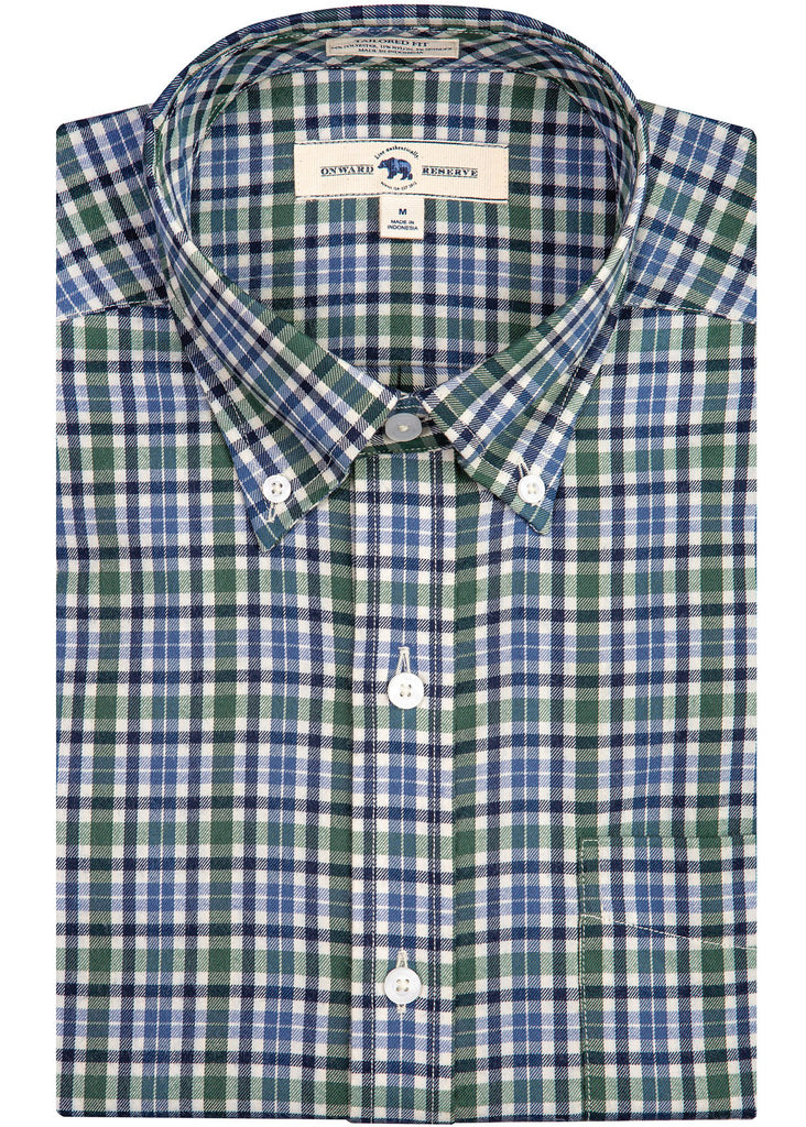 Onward Reserve Tailored Fit Performance Twill Shirt | Green Plaid - Jordan Lash Charleston