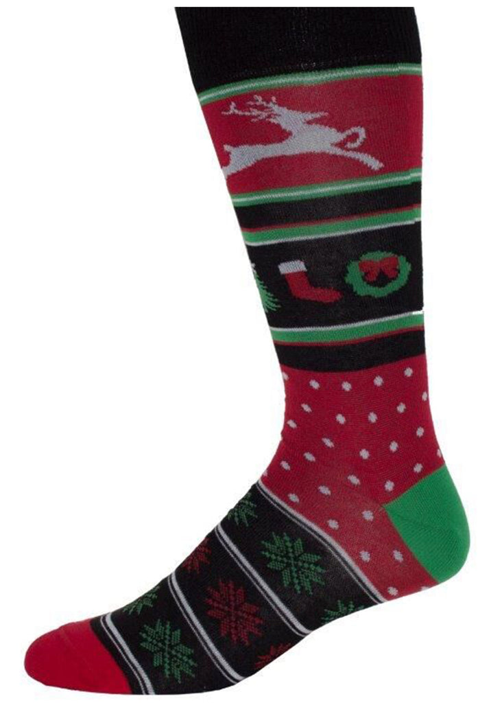 Ell & Atty Mixed Xmas Motifs Sock | Black - Jordan Lash Charleston