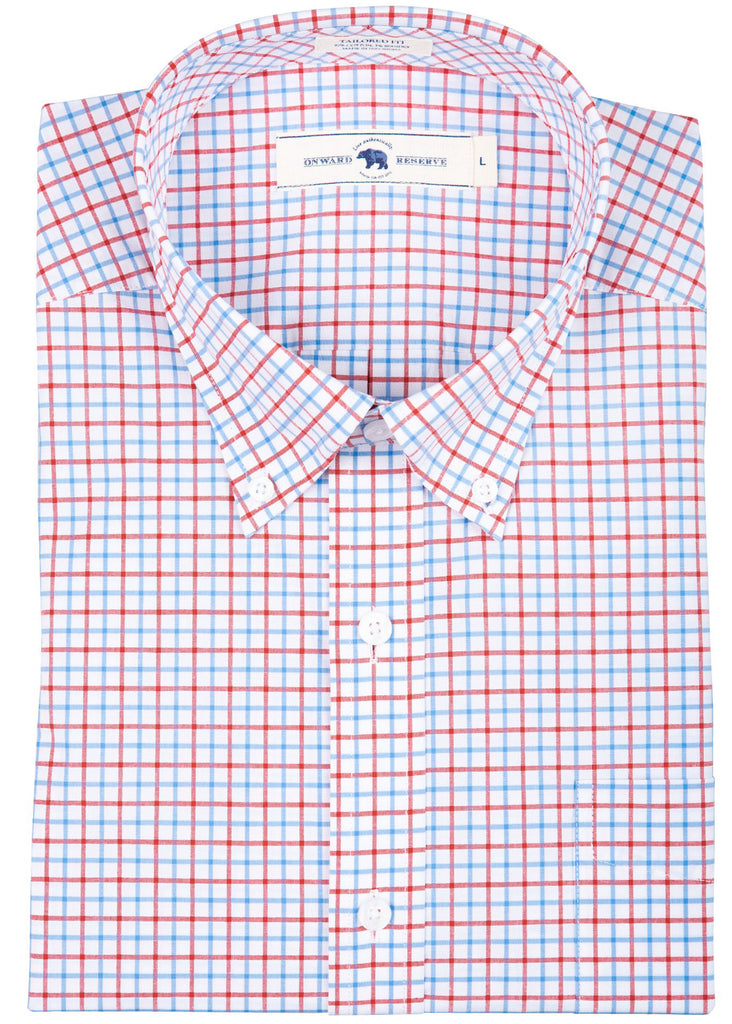 Onward Reserve Tailored Fit Cotton Stretch Shirt | Red Tattersall - Jordan Lash Charleston
