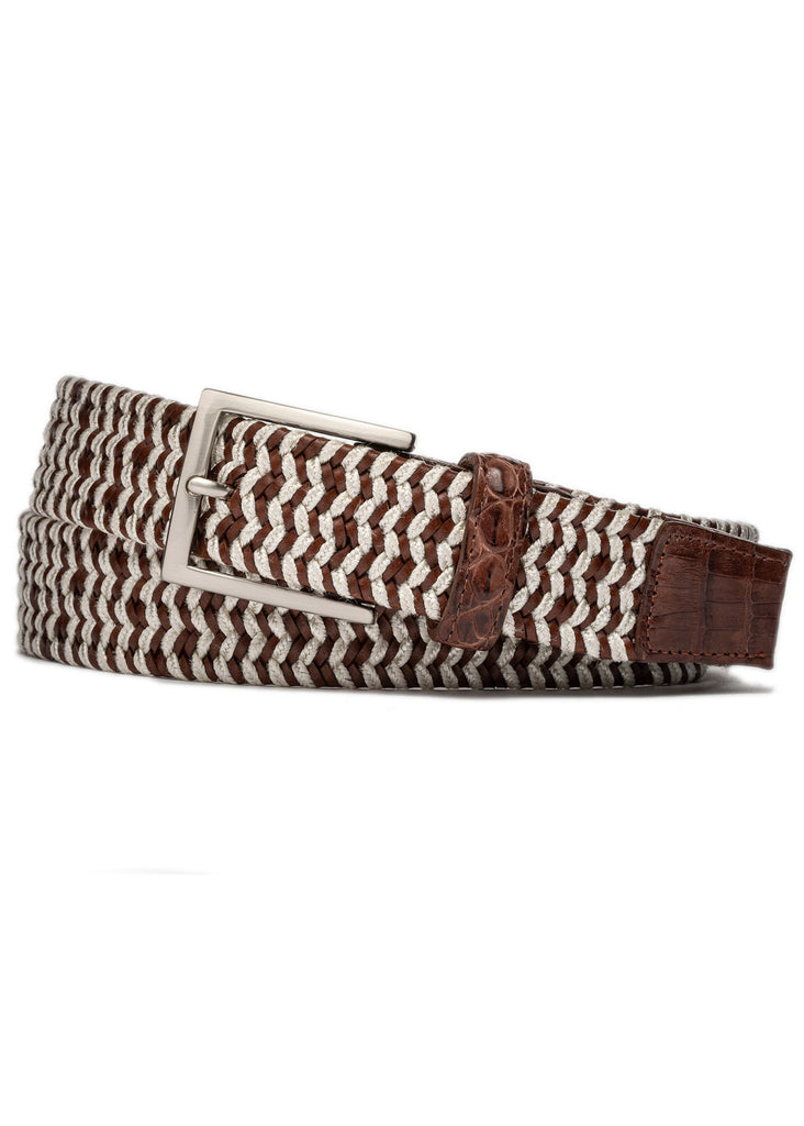 "W. Kleinberg 1 3/8"" Leather Cloth Stretch Belt with Croc Tabs 