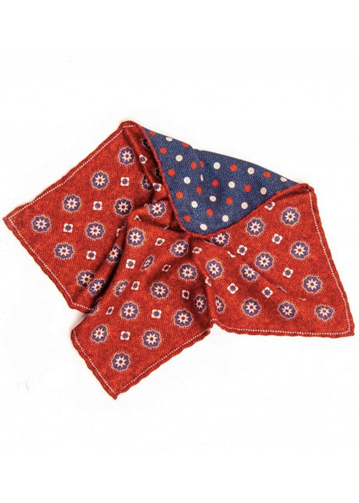 Edward Armah Medallions and Dots Reversible Pocket Square | Brick and Denim - Jordan Lash Charleston
