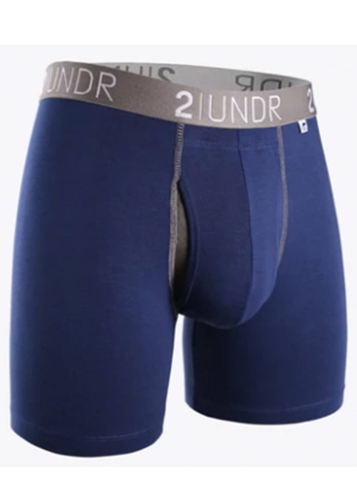 2 UNDR Swing Shift 6 Inch Boxer Brief | Navy and Grey - Jordan Lash Charleston