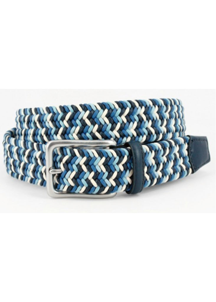 Torino 35mm Italian Woven Cotton Belt | Navy, Blue and Cream - Jordan Lash Charleston