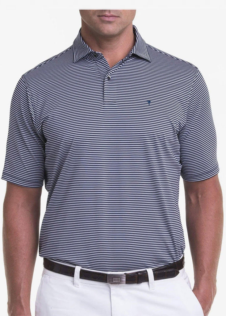 Fairway & Greene Men's Owens Stripe Tech Polo w/ Palmetto and USA Embroidery | Marine and Stormy Heather - Jordan Lash Charleston