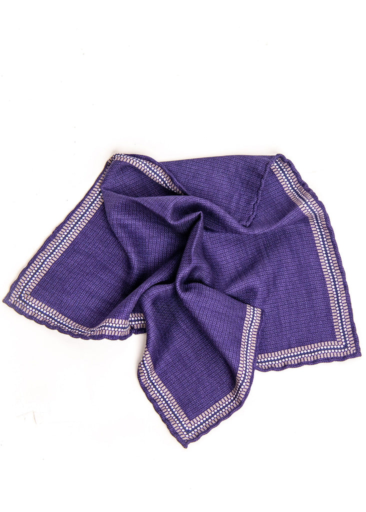 Edward Armah Ribbed Print Reversible Pocket Square | Grape - Jordan Lash Charleston