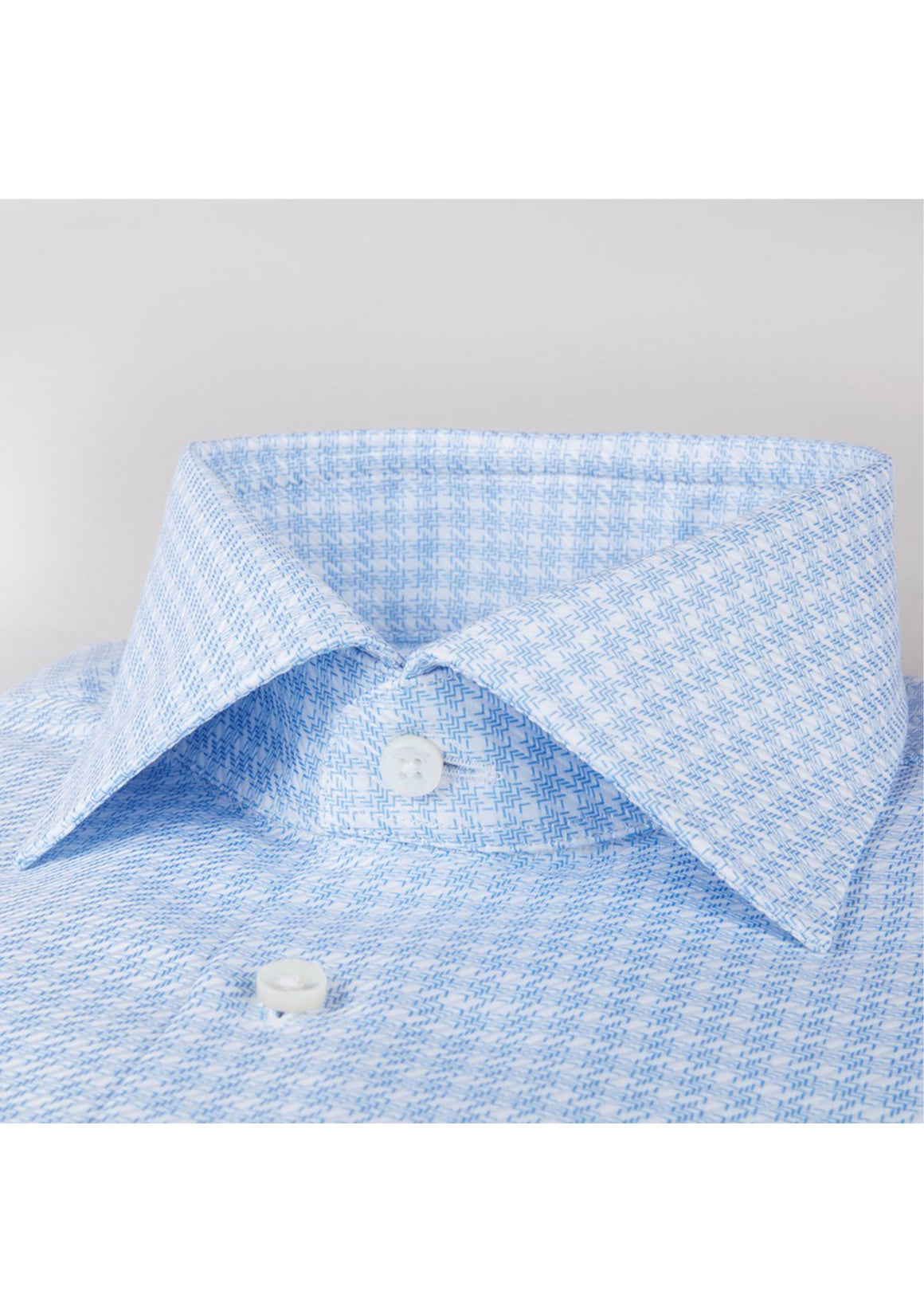 Stenstroms Light Blue Micro Patterned Fitted Body Shirt