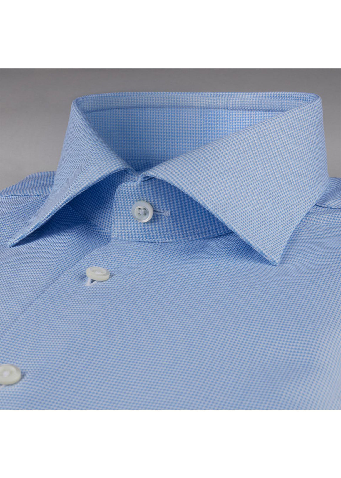 Blue Houndstooth Fitted Body Shirt