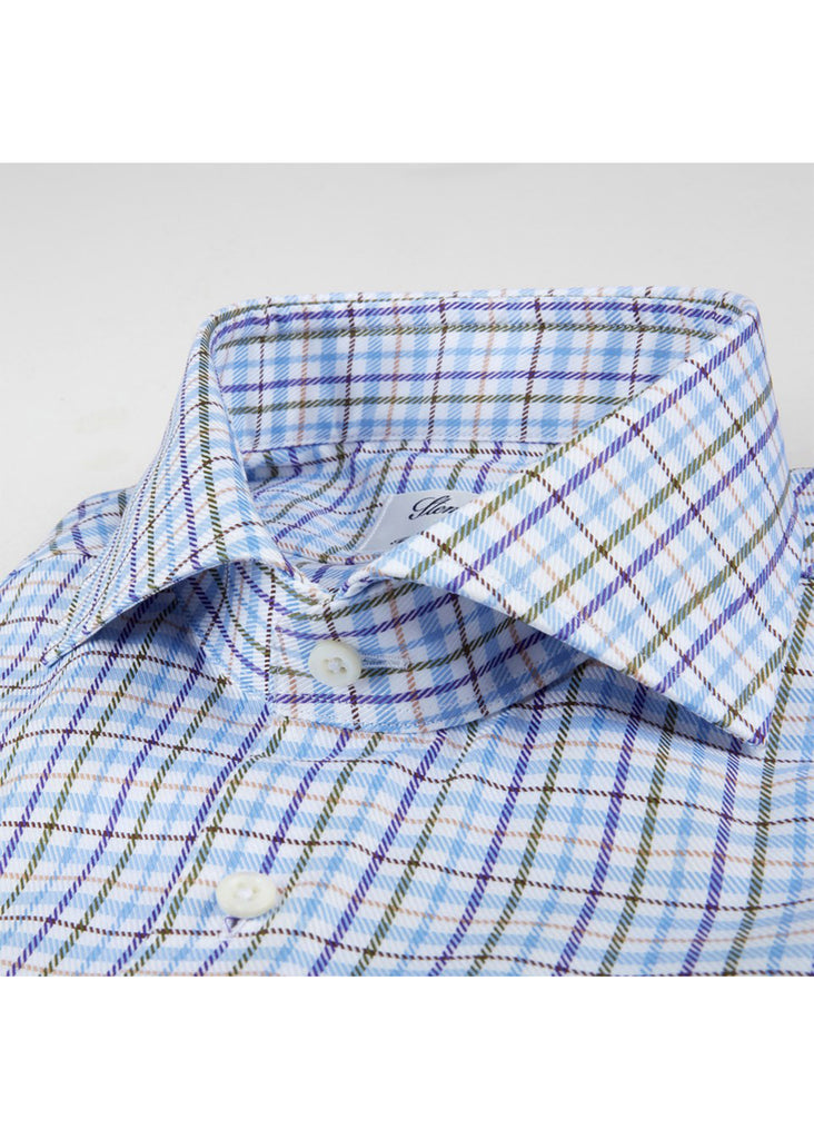 Stenstroms Green and Blue Checked Fitted Body Shirt - Jordan Lash Charleston