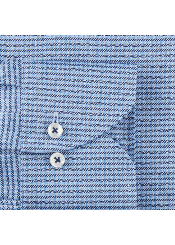 Stenstroms Blue Micro Patterned Fitted Body Shirt - Jordan Lash Charleston
