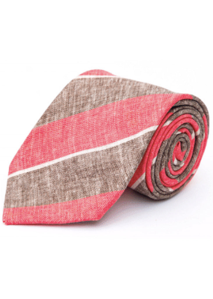 Edward Armah Stripes Tie | Light Brown and Coral - Jordan Lash Charleston