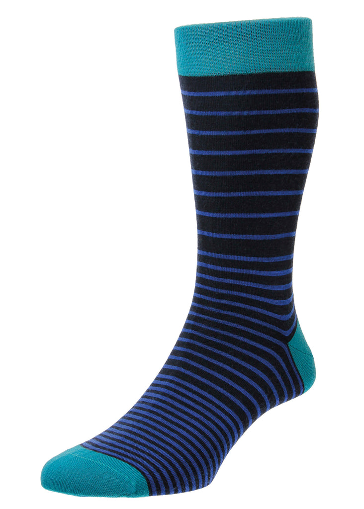 Pantherella Scher Sock | Navy Stripe - Jordan Lash Charleston