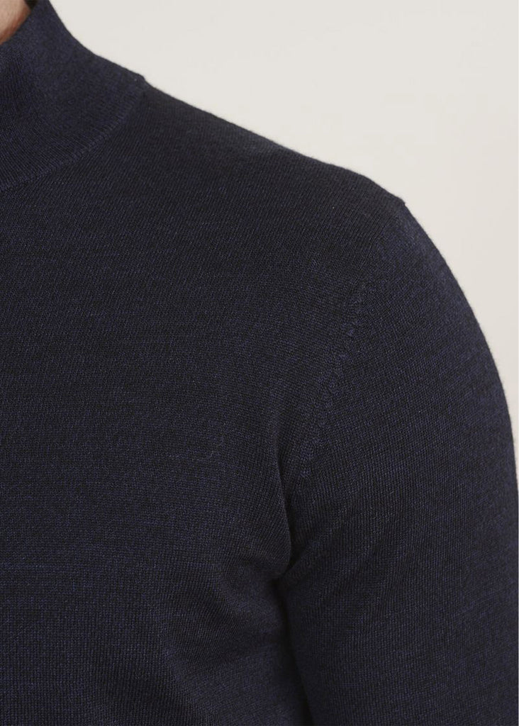 Patrick Assaraf 14GG 1/4 Zip Mock Sweater | Midnight Mouline - Jordan Lash Charleston