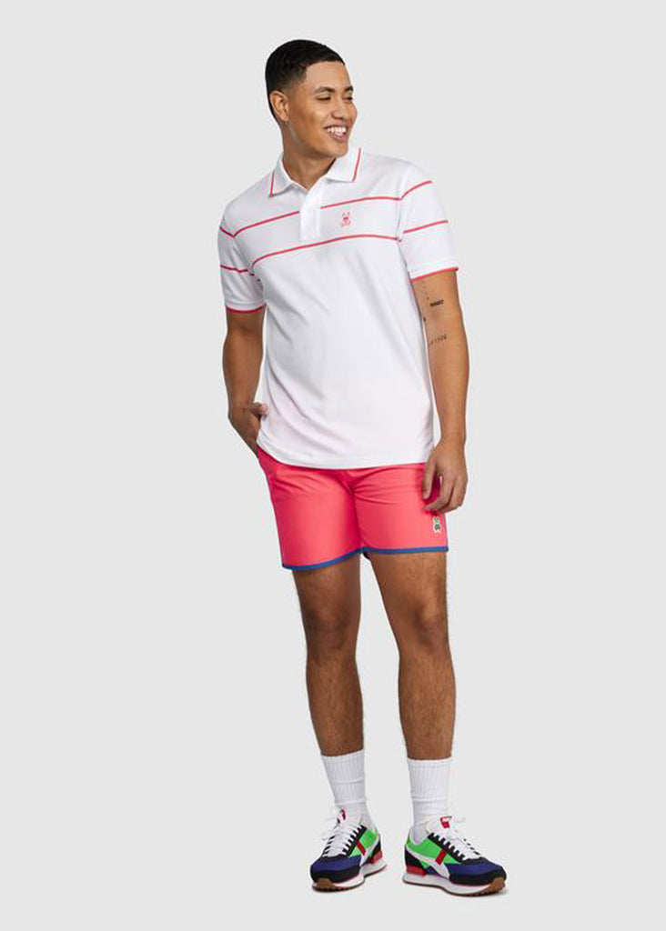 Psycho Bunny Mens Parkhouse Chest Stripe Polo | White - Jordan Lash Charleston