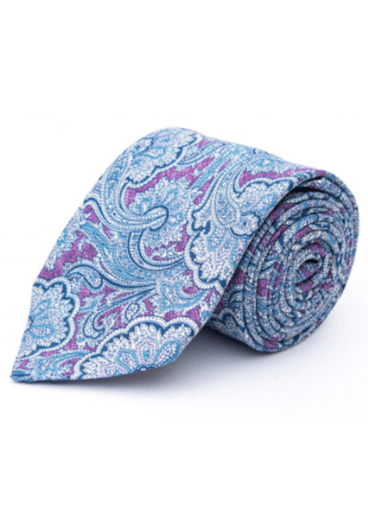 Edward Armah Exploded Paisley Tie | Orchid, Bluff and Off White - Jordan Lash Charleston