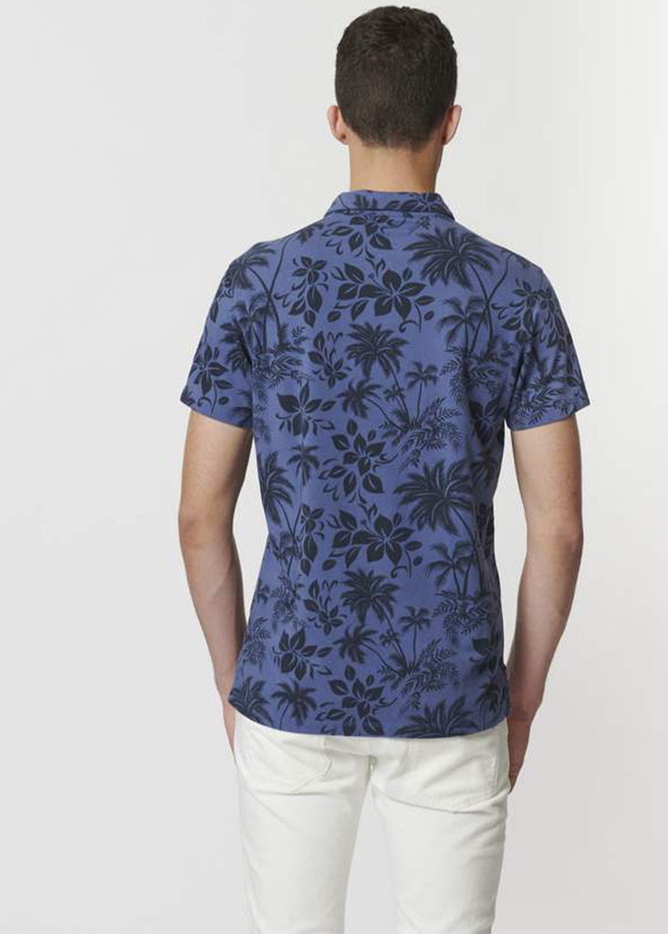 Patrick Assaraf Short Sleeve Printed Polo | Tropical Blue - Jordan Lash Charleston