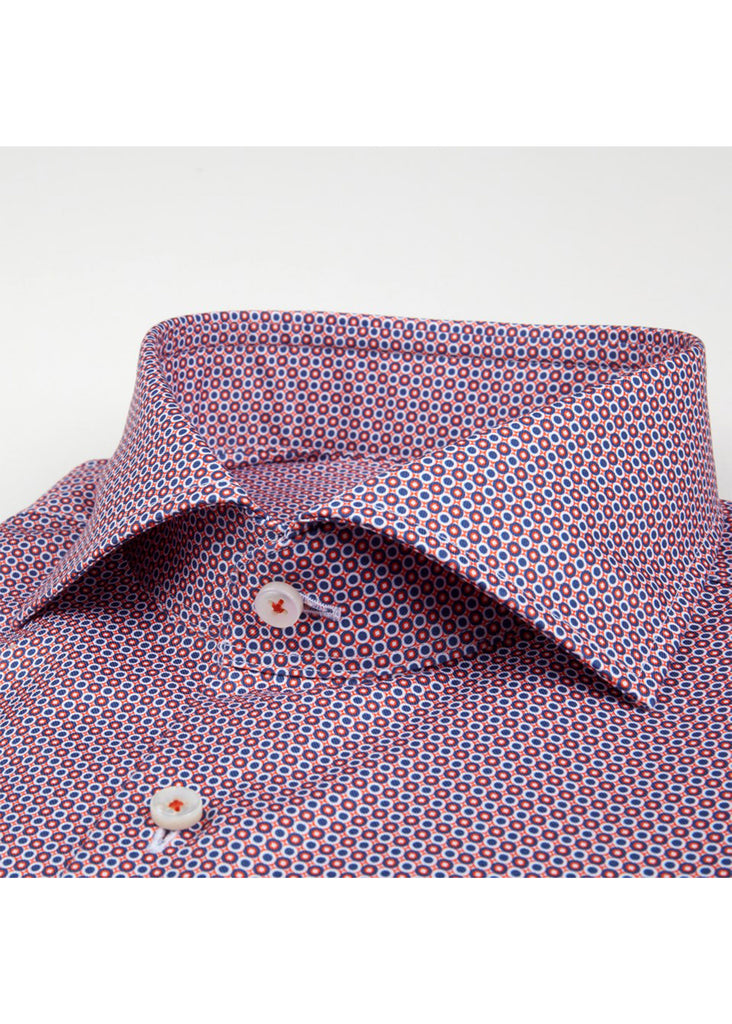 Stenstroms Fitted Body Shirt | Red Geometric Pattern - Jordan Lash Charleston