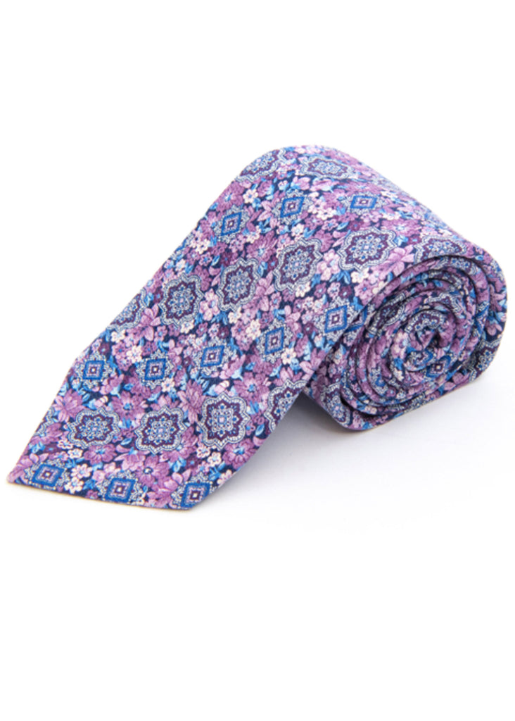 Edward Armah Medallion On Floral Silk Tie | Mulberry - Jordan Lash Charleston