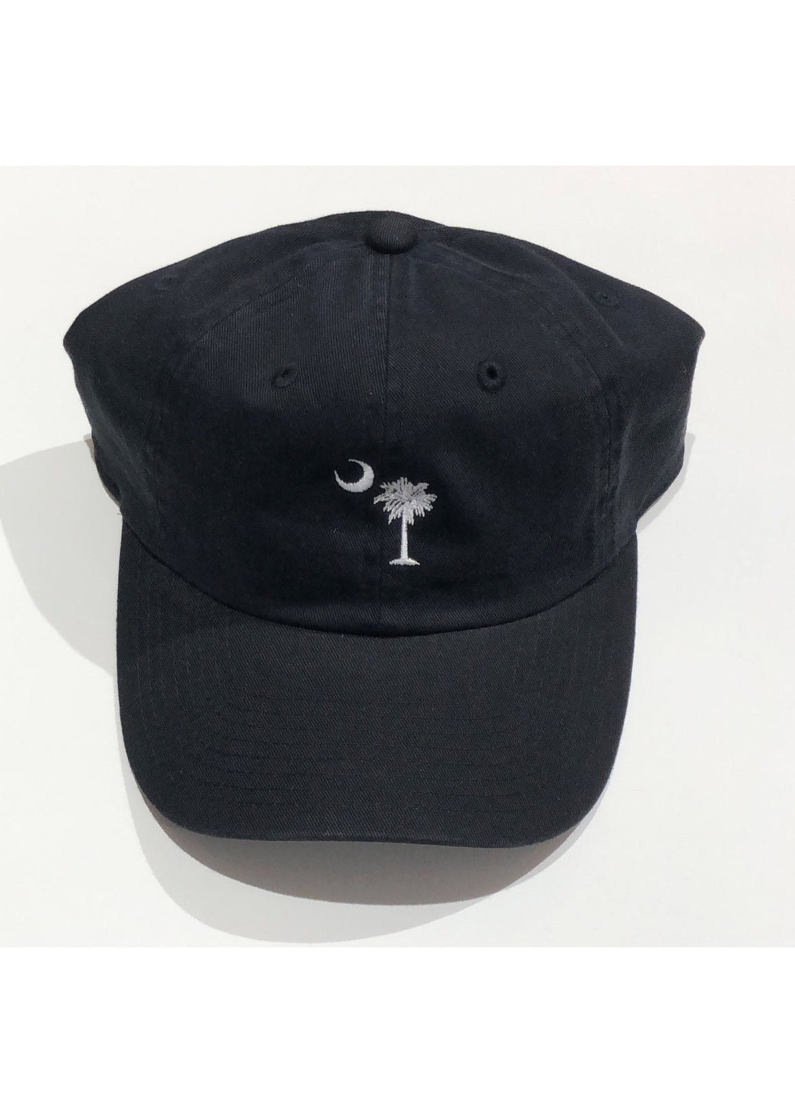 Washed Slouch Embroidered Palmetto Hat | Black