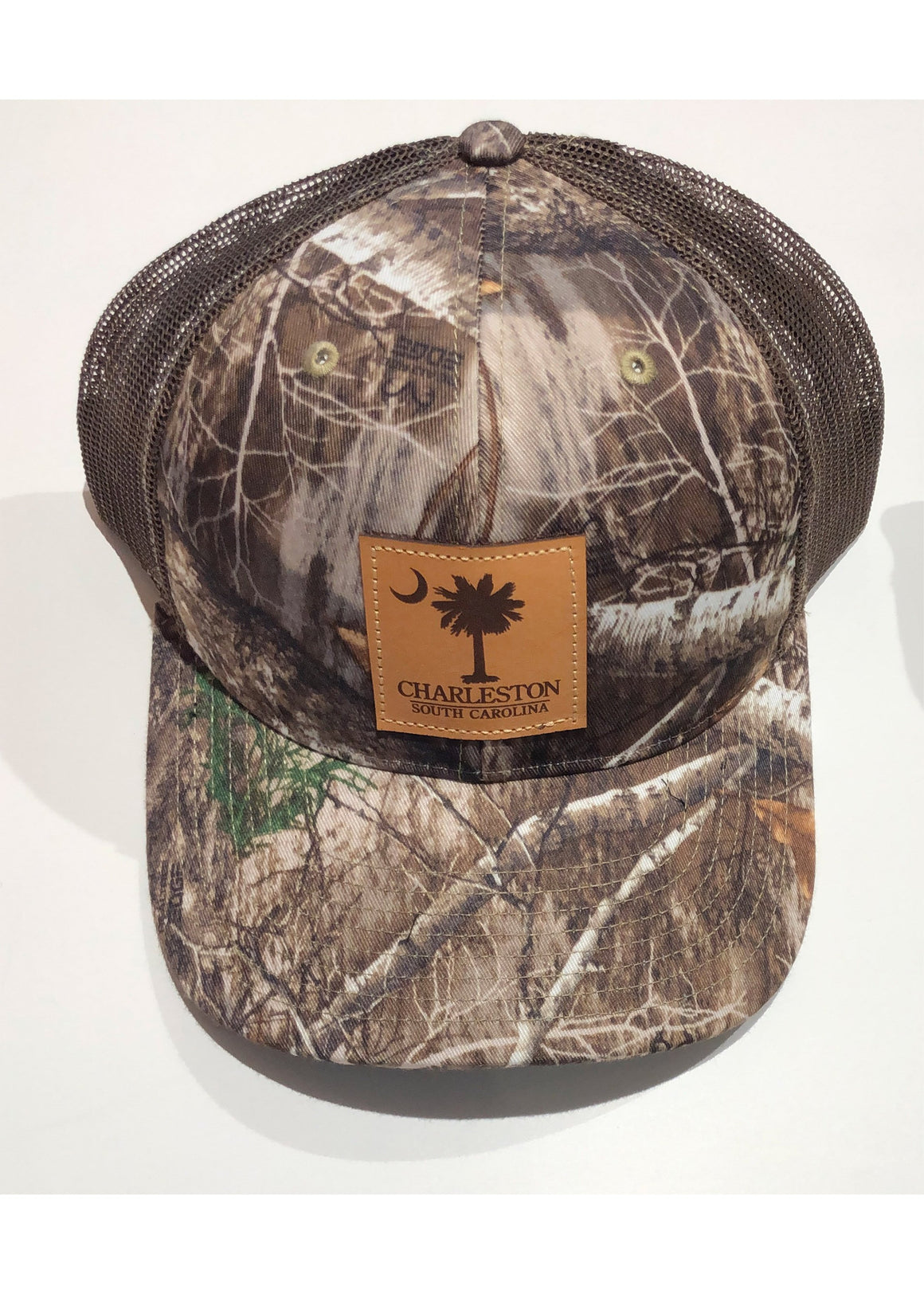 Trucker Hat with Palmetto and Crescent Moon Leather Patch | Brown Camo