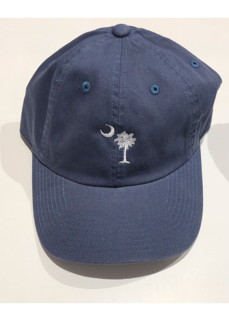 Washed Slouch Embroidered Palmetto Hat | Classic Blue - Jordan Lash Charleston