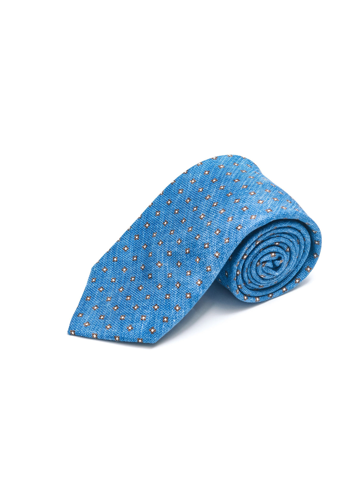 Edward Armah Silk Tie | Blue with Brown and Beige Mini Neat Print