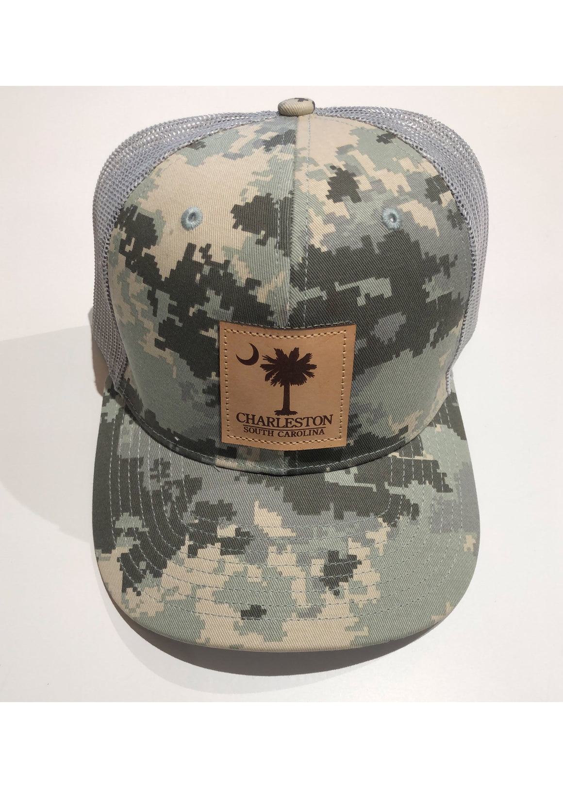 Trucker Hat with Palmetto and Crescent Moon Leather Patch | Light Green Digital Camo