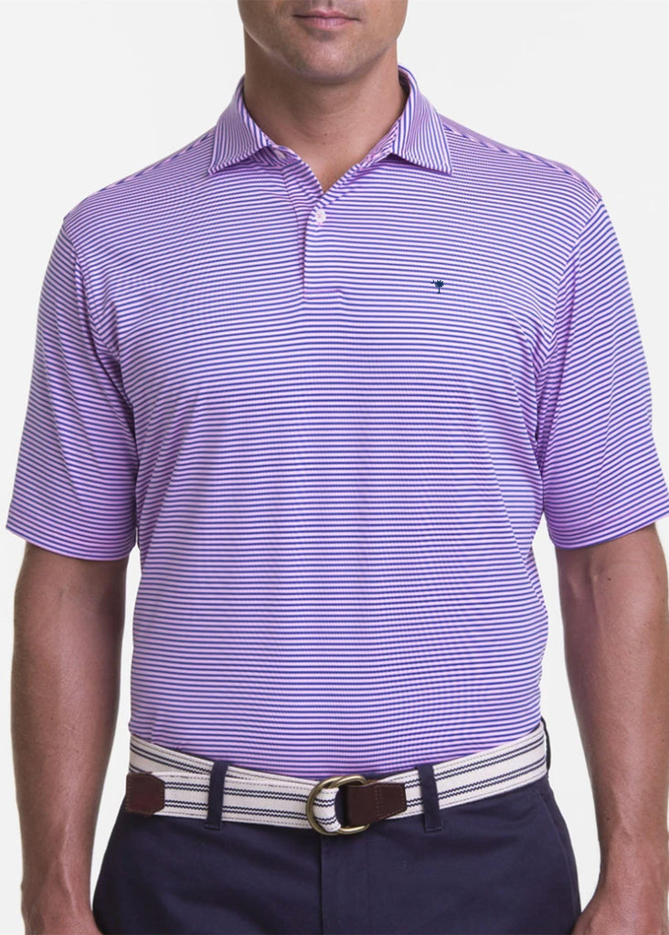 Fairway & Greene Men's Owens Stripe Tech Polo w/ Palmetto and USA Embroidery | Lilacs - Jordan Lash Charleston
