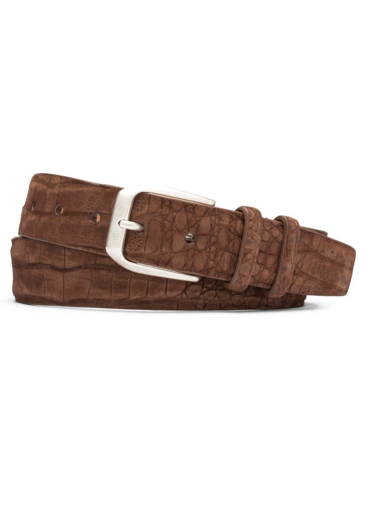 W. Kleinberg Sueded Caiman Crocodile Belt | Chocolate - Jordan Lash Charleston