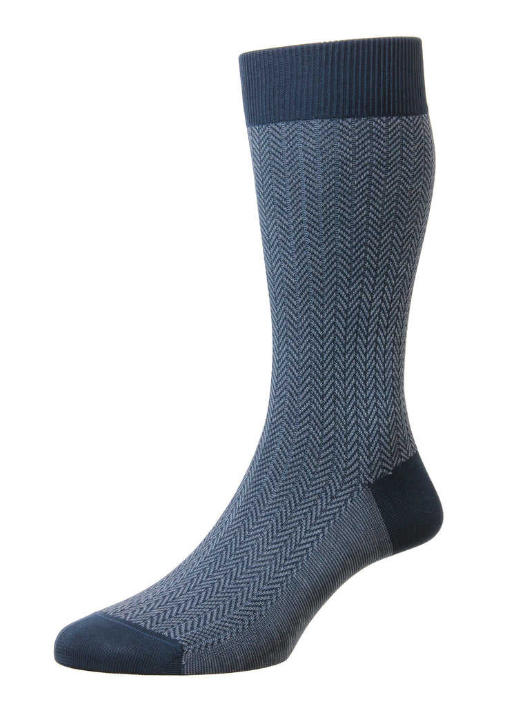 Pantherella Fabian Sock | Steel Blue - Jordan Lash Charleston