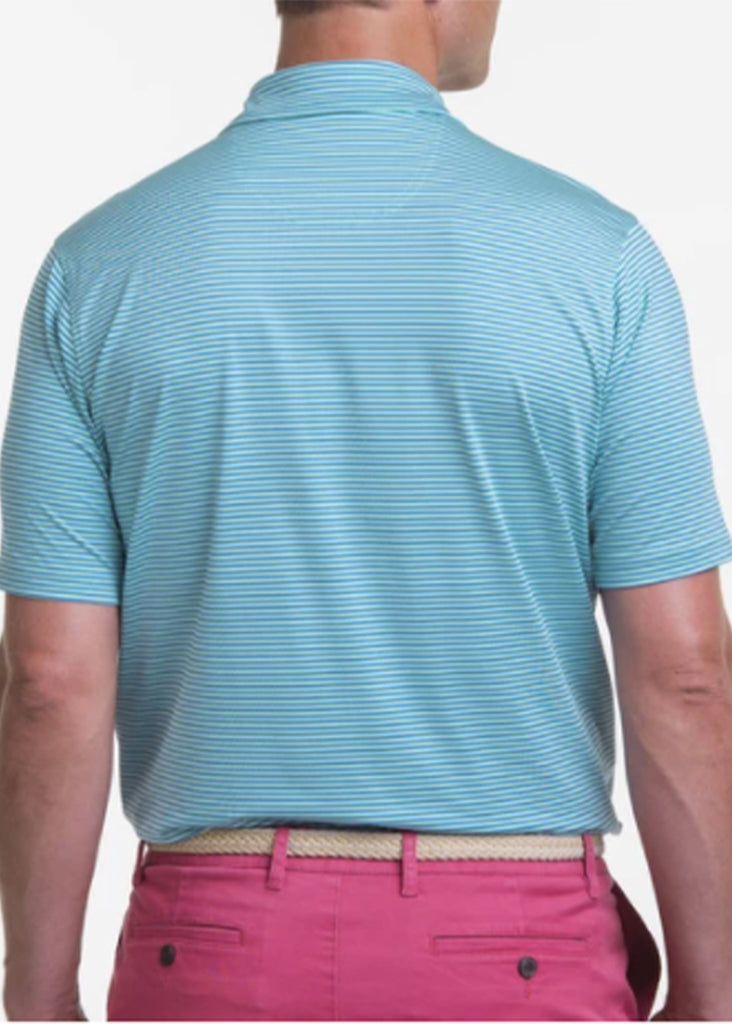 Fairway & Greene Men's Owens Stripe Tech Polo w/ Palmetto and USA Embroidery | Seaspray - Jordan Lash Charleston